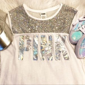 PINK V.S. holographic PINK and sequin tee